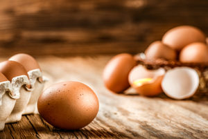 Eggshells on a wooden table