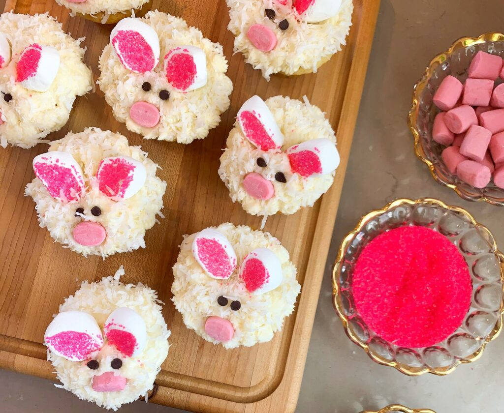 Cupcakes decorated like Easter bunnies