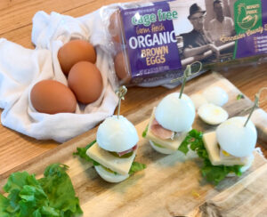 Finger Egg Sandwiches and Egg Carton