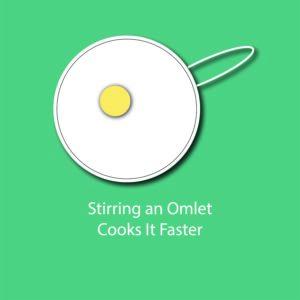 egg myth infographic - stirring an omlet cooks it faster
