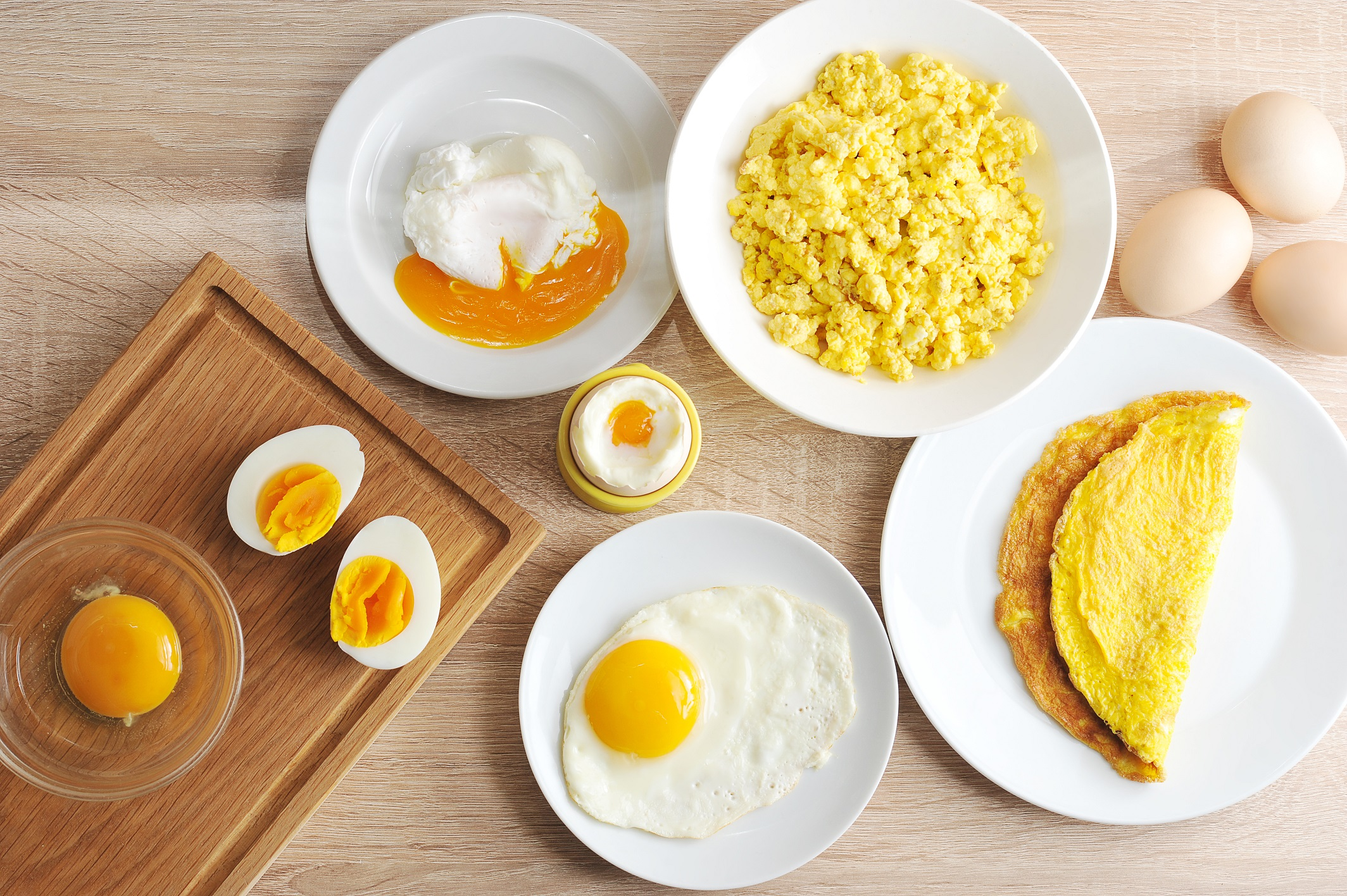 assortment of different styles of cooked eggs