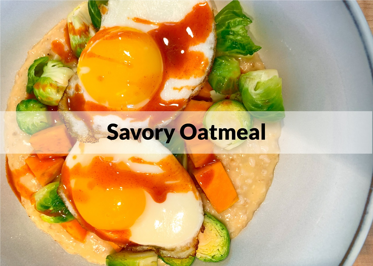 bowl of oatmeal with brussel sprouts and eggs