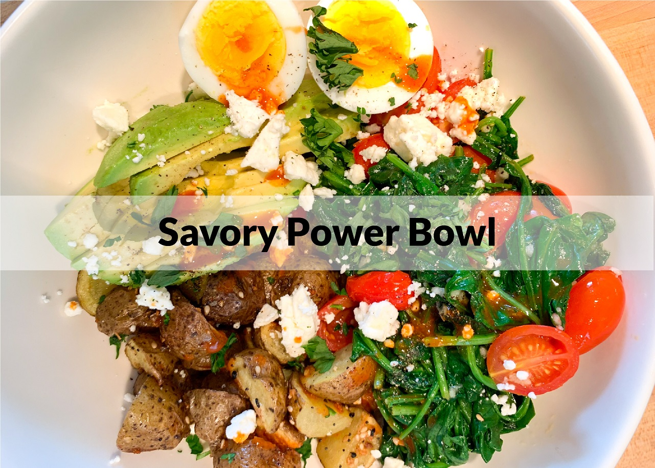 power bowl with vegetables and eggs