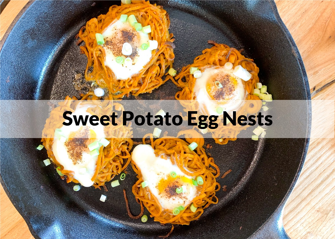 sweet potato egg nests in a cast iron skillet