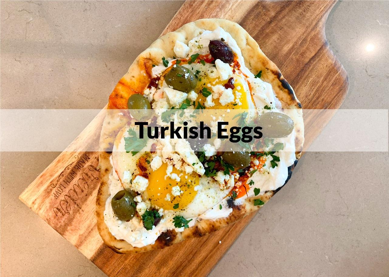 turkish eggs served on pita bread