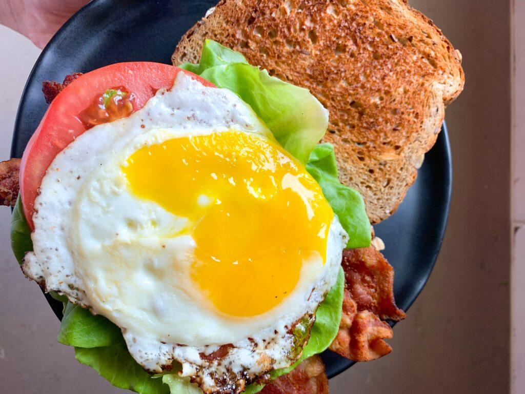 plated breakfast blt