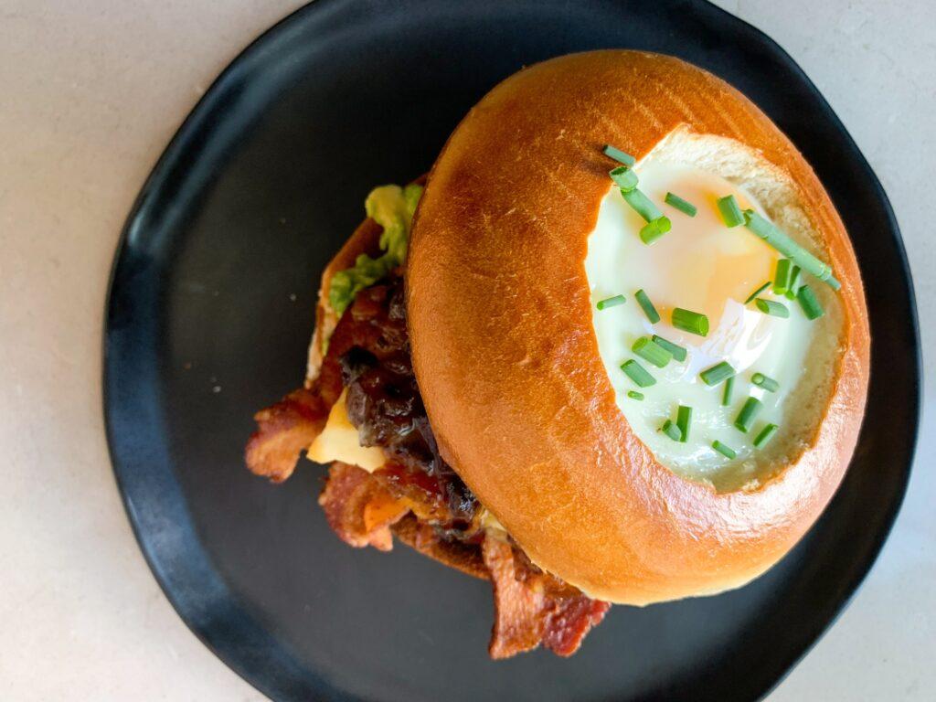egg-in-the-hole bagel breakfast sandwich