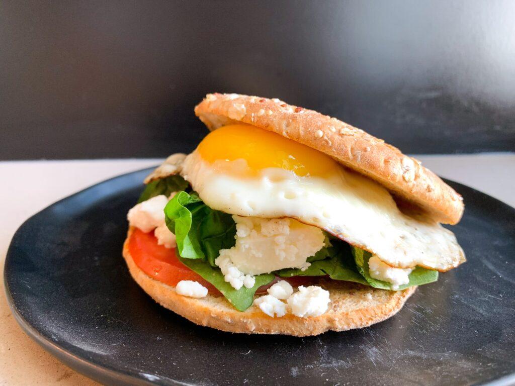 plated Mediterranean breakfast sandwich
