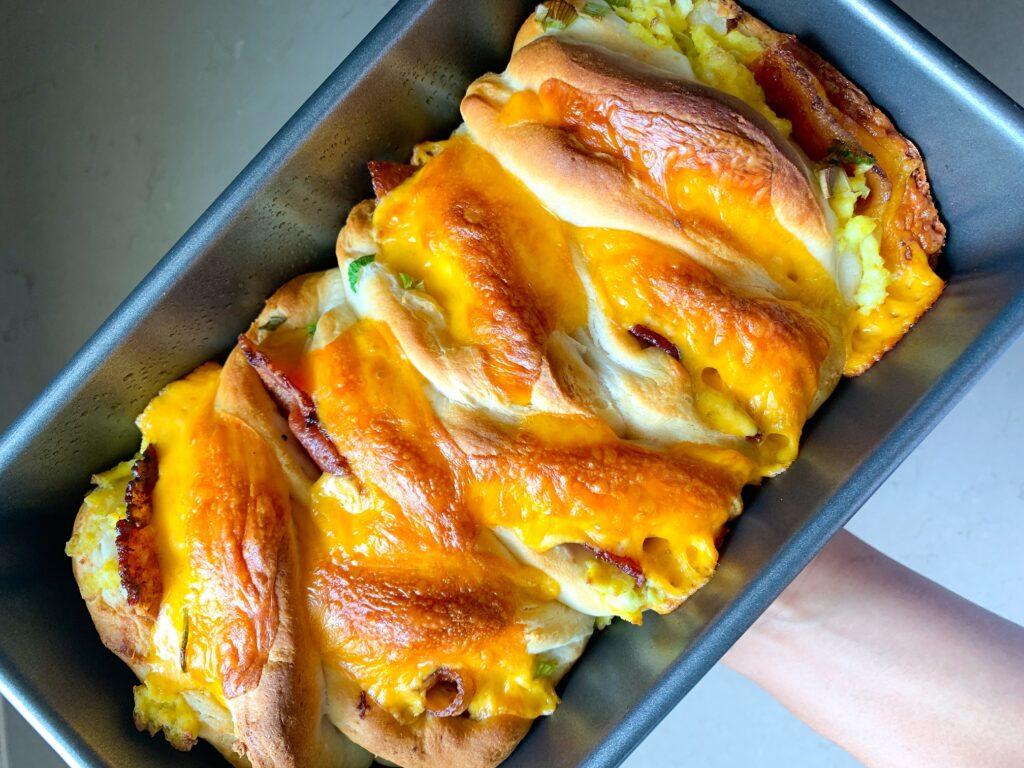 pull apart breakfast sandwiched in loaf pan
